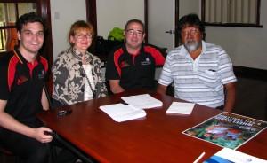 Clare O' Kelly, Executive Director, Outback Academy and Les Wallam, Executive Officer, Woolkabunning Kiaka Inc. (far right) with Brett Merrey and Taylor Hayward